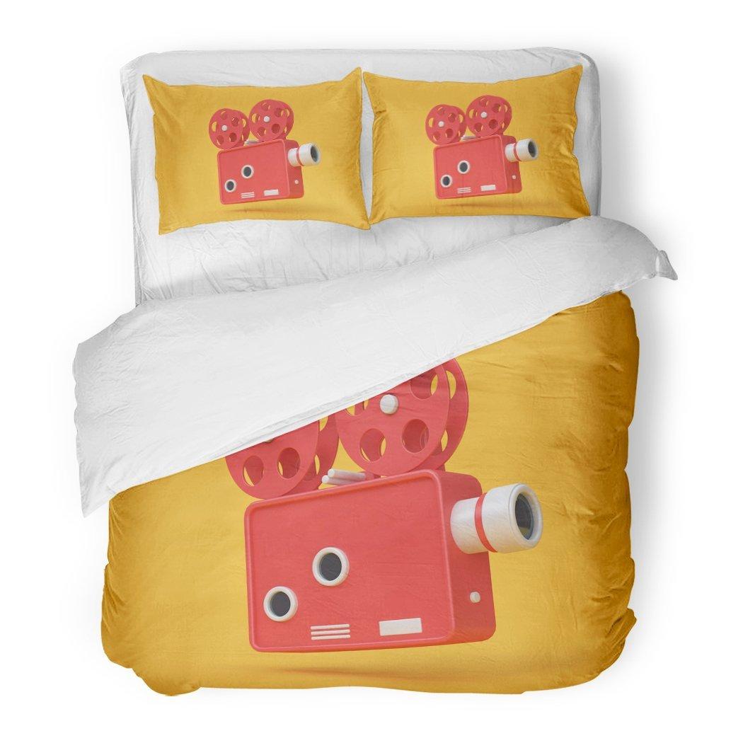 SanChic Duvet Cover Set Red Media 3D Rendering Movie Cinema Projector Cartoon Style Yellow Entertainment Video Decorative Bedding Set Pillow Sham Twin Size