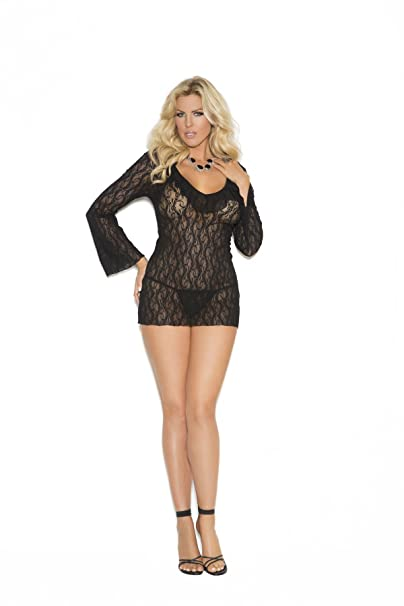 3a61367fe7b Elegant Moments Women s Plus-Size Long Sleeve Lace Night Shirt and G-String