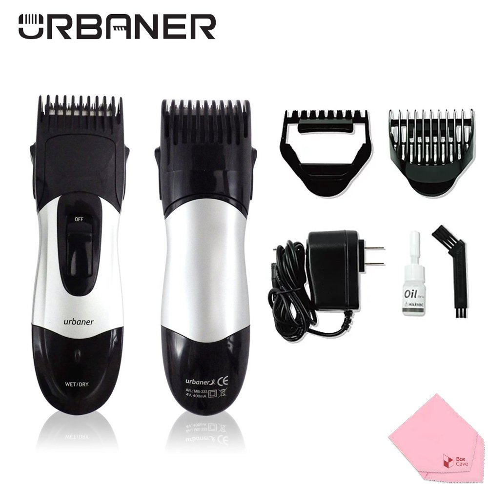 URBANER Professional Hair and Beard Wet / Dry Trimmer (Made in Taiwan) Comes With BoxCave Microfiber Cleaning Cloth