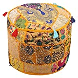 Indian Pouffe Footstool Cover Round Patchwork Embroidered Pouf Ottoman Cover Yellow Cotton Floral Traditional (22x22x14) Embroidered Ottoman Stool Pouf Cover Turquoise Green Floral Hassock Pouffe Case
