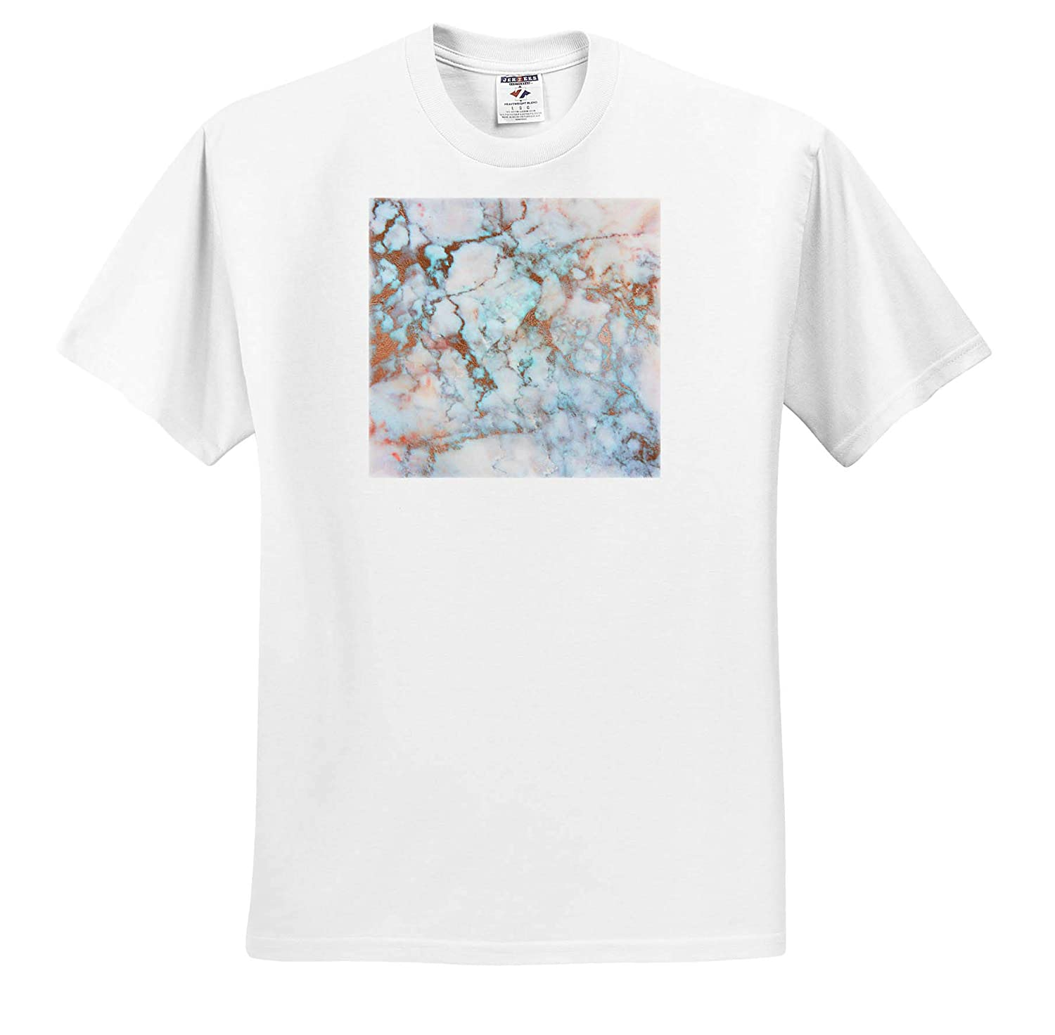 3dRose Anne Marie Baugh Textures ts/_316250 Adult T-Shirt XL Contemporary Image of Copper in Image of Marble Design