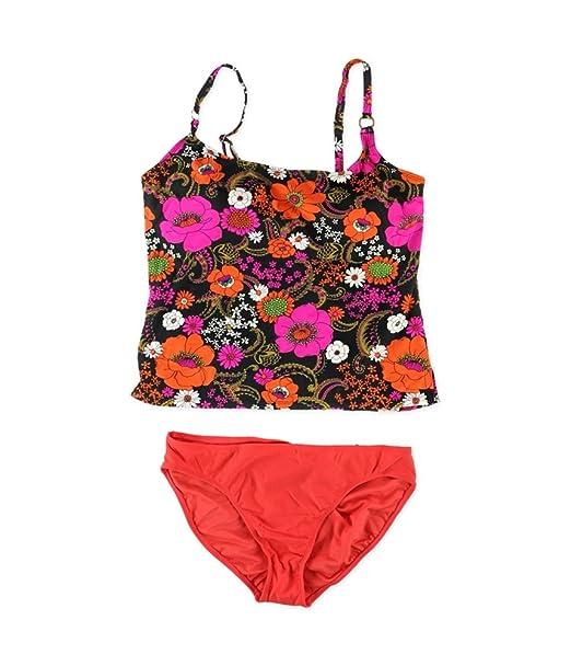 b85d936b0b9ac Island Escape Womens Floral Push Up 2 Piece Tankini Pink 14 at ...