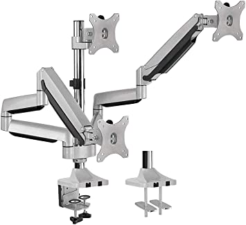 """AVLT-Power Triple 32"""" Monitor Desk Stand - Mount Three 15.4 lbs Computer Monitors on 3 Full Motion Adjustable Arms - Organize Your Work Surface with Ergonomic Viewing Angle VESA Monitor Mount"""