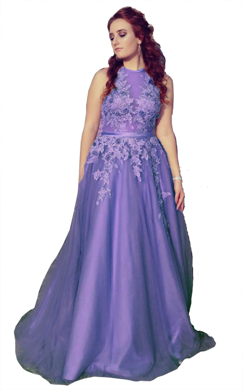 f3780c094522 Home/Brands/Fanciest Dresses/Fanciest Women's Halter Prom Dresses Long 2019 Appliques  Backless Evening Formal Dress Dark Lavender US2. ; 