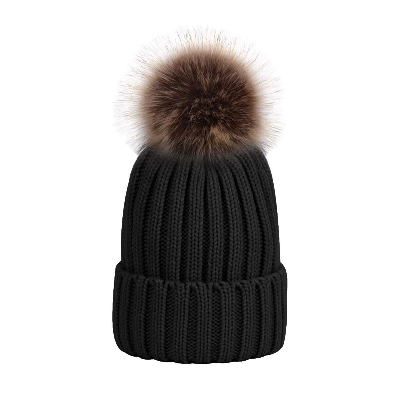 953fdf45d1d35d UPhitnis Bommelmütze Mütze Damen | Warme Strickmütze mit Fleecefutter  Rollrand | Elegantem Wintermütze mit Fellbommel Pom