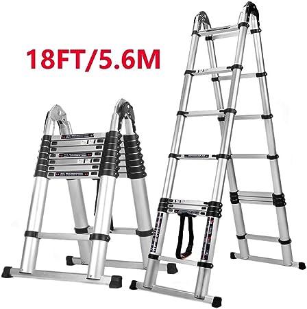 Escalera telescópica Aluminio de 18 pies Telescópico Tipo A Extensión de Servicio Pesado, Certificado EN131 Multi propósito, 330 Libras de Capacidad: Amazon.es: Hogar