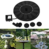 OWIKAR Solar Power Water Pump, 7V 1.4W Fountain Birdbath Pump Floating Floating Drifting Panel Pool Pond, Reach Up 45 cm, Solar-powered for Pond, Pool, Garden, Fish Tank, Aquarium