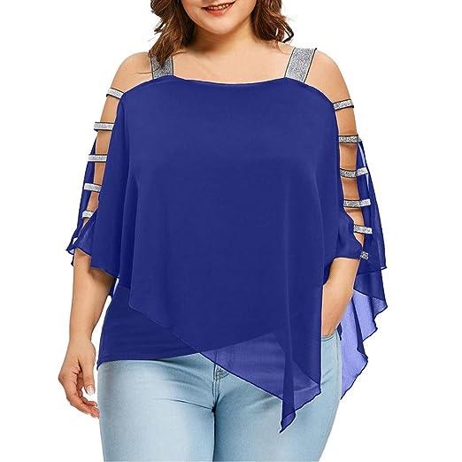 f0c826b77d101f Inverlee Sexy Women Fashion Plus Size Ladder Cut Overlay Asymmetric Blouse  Tops T Shirt (Blue