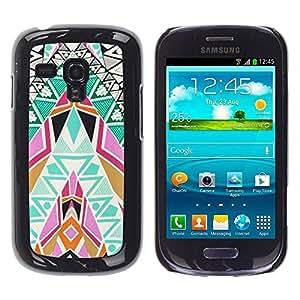 rígido protector delgado Shell Prima Delgada Casa Carcasa Funda Case Bandera Cover Armor para Samsung Galaxy S3 MINI NOT REGULAR! I8190 I8190N /Art Patterns Colorful Spiritual/ STRONG