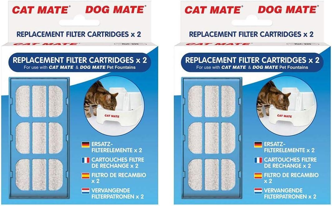 gato/perro Mate Mascota Fuente Recambio Cartuchos Filtradores paquete de 2 x 2