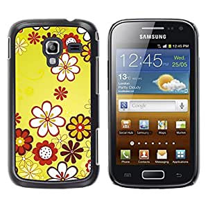 Exotic-Star ( Design Yellow Floral Flowers ) Fundas Cover Cubre Hard Case Cover para Samsung Galaxy Ace 2 I8160 / Ace2 II XS7560M