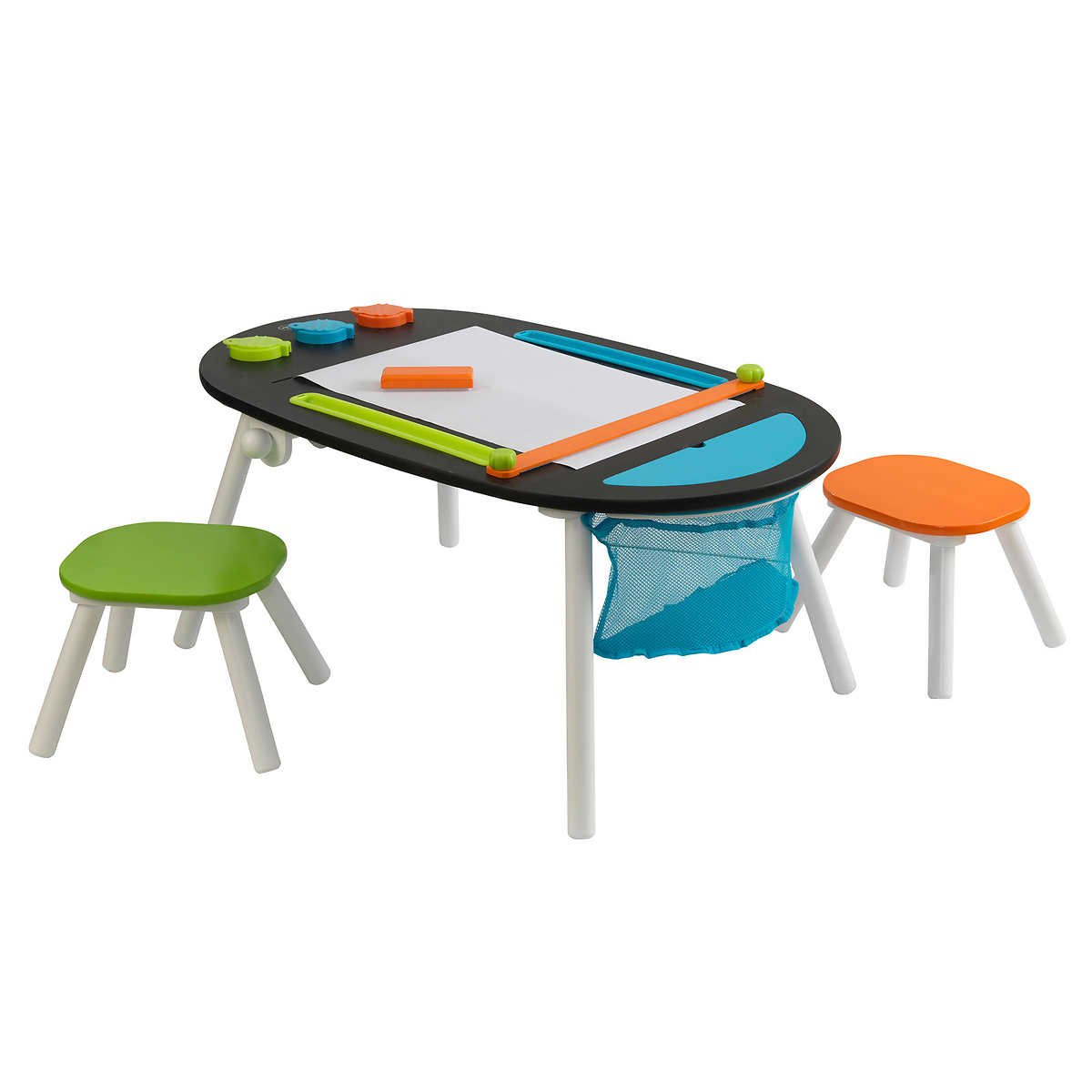 Durable Deluxe Chalkboard Art Table W/ 3 Sealable Spill-Proof Paint Cups, 2 Paper Rolls, 2 Colorful Surdy Stools Features Mesh Storage Compartment Great For Playroom For Ages 3 and Up