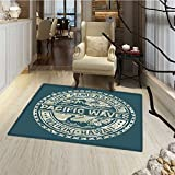 Modern Door Mat outside Pacific Waves Surf Camp and School Hawaii Logo Motif with Artsy Effects Design Bath Mat Bathroom Mat with Non Slip 30''x48'' Khaki Slate Blue