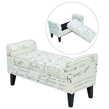 Marvelous Homcom 41 3 Storage Ottoman Bench With Armrests Storage Chest Footrest Padded Seat Unique Signature Print Caraccident5 Cool Chair Designs And Ideas Caraccident5Info