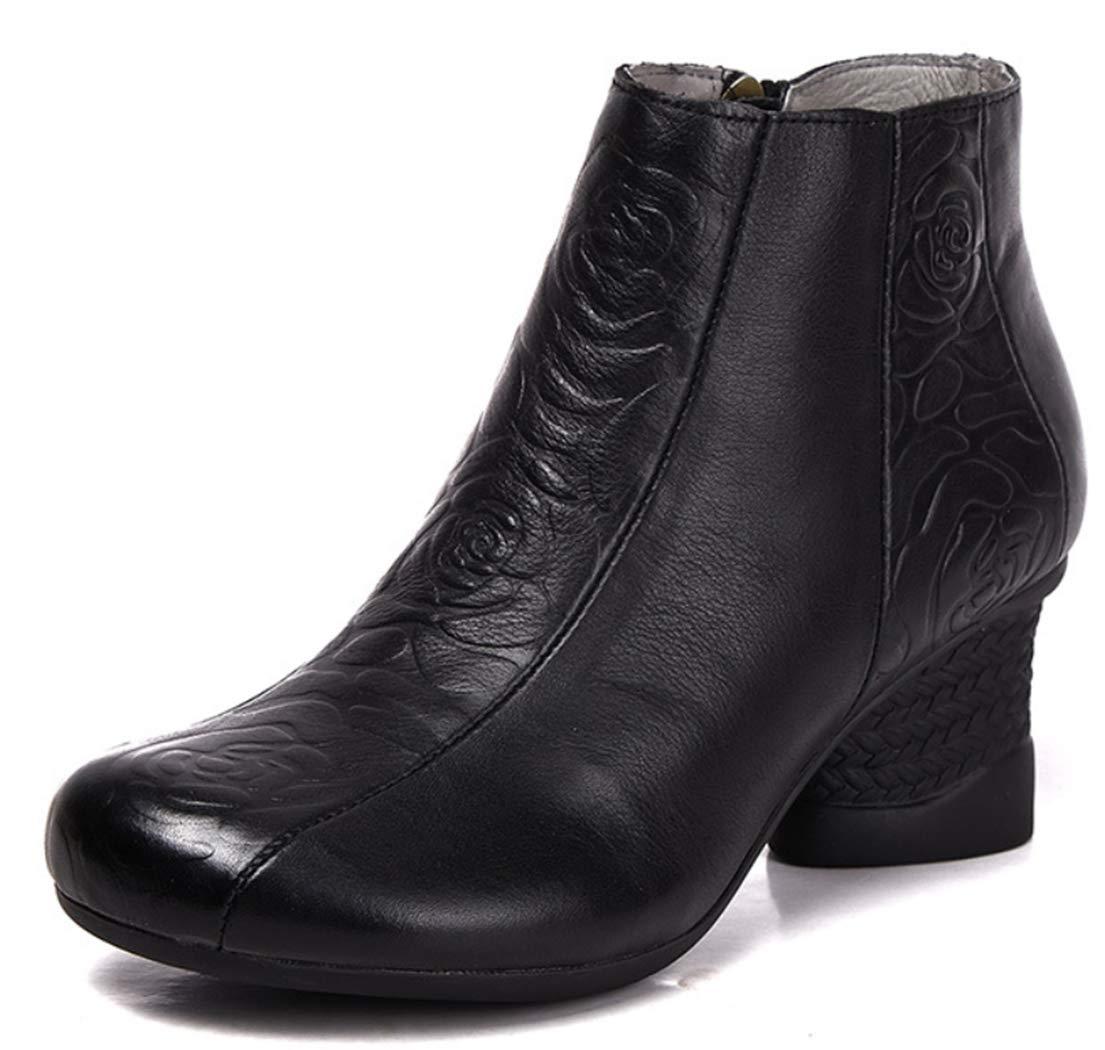 Frauen Martin Stiefel Leder dicken Fersenkopf High Heel Stiefel Seite Reißverschluss handgeprägten Dekoration Retro-Stil Knöchelstiefel