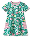 Fiream Girls Cotton Casual Dresses Short Sleeves Floral print Dresses(185005,5T/5-6YRS)