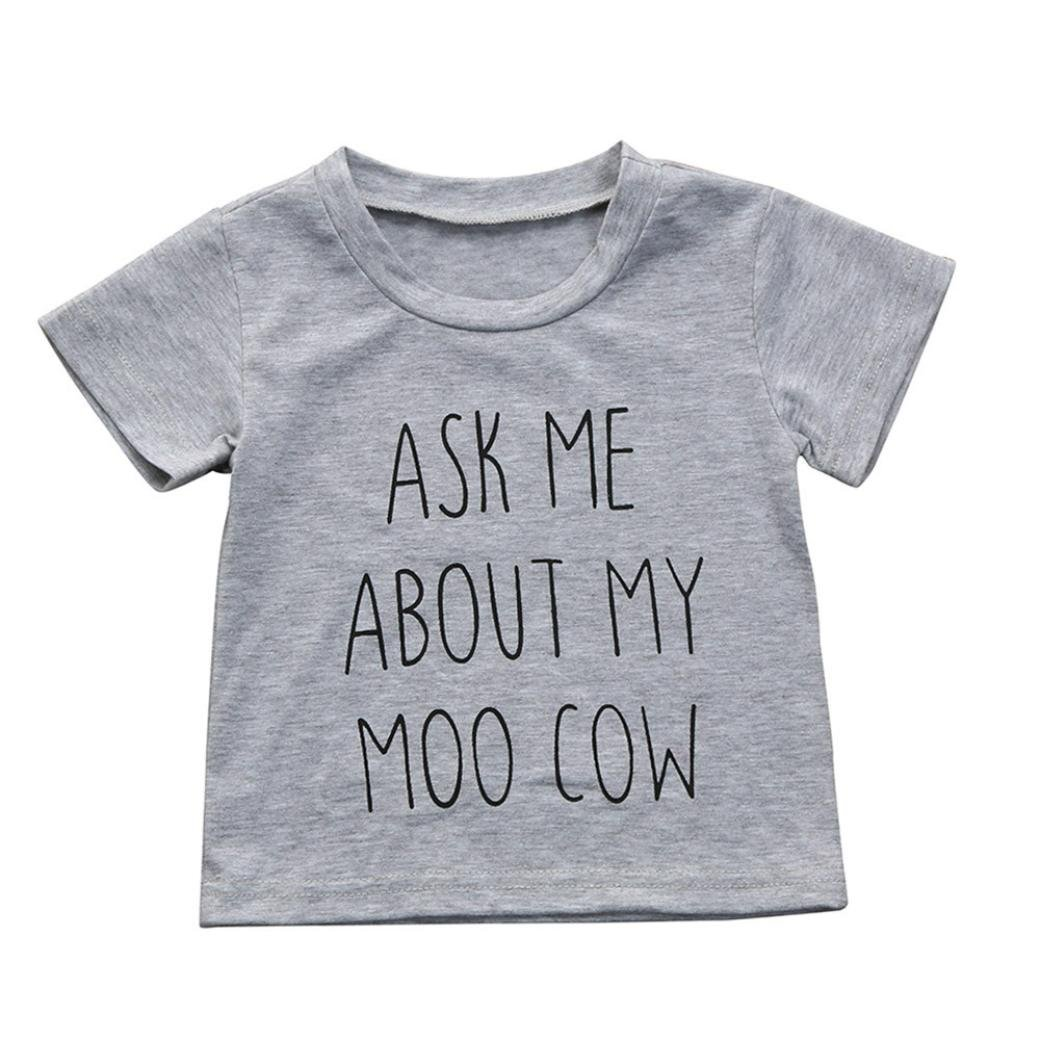 CHshe Baby Boys Ask Me About My Moo Cow Print Short Sleeve Cotton Pullover Tops T-Shirts