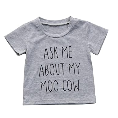 5970d9534456 CHshe Baby Boys Ask Me About My Moo Cow Print Short Sleeve Cotton ...