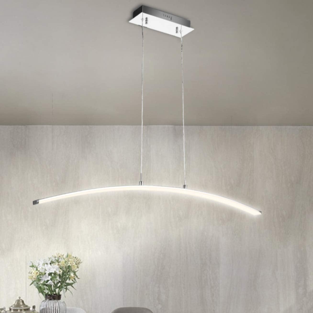 Lámpara colgante LED SPARKOR 30W Esstischleuchte, Diseño moderno, Altura ajustable, Metal, Cromo, 100 x 120 cm Blanco cálido: Amazon.es: Iluminación