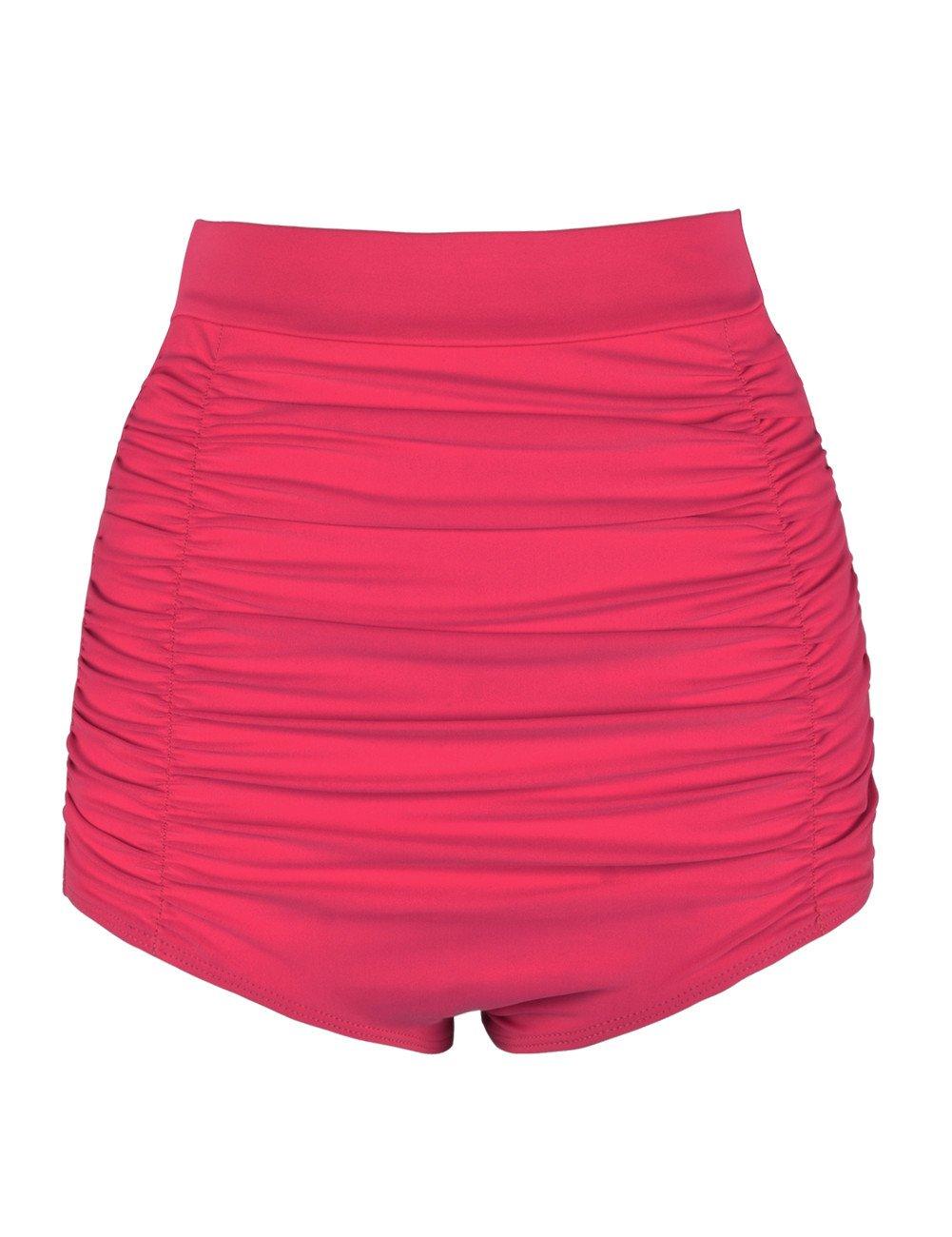 Hilor Women's Vintage High Waisted Bikini Bottom Shirred Tankini Briefs Swim Shorts YSK27171