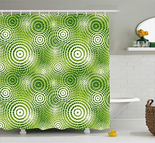 (Ambesonne Abstract Shower Curtain, Circular Round Shaped Inner Geometric Eco Wavelength Illustration, Fabric Bathroom Decor Set with Hooks, 70 Inches, Lime and Hunter Green White)