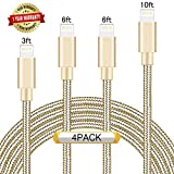 Ulimag Lightning Cable 4Pack 3FT 6FT 6FT 10FT (Gold) Nylon Braided Certified iPhone Cable USB Cord Charging Charger for Apple iPhone 7, 7 Plus, 6, 6s, 6+, 5, 5c, 5s, SE, iPad, iPod Nano, iPod Touch