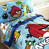 4pc Angry Birds Bedding Set - Video Game Application Bed-in-Bag Twin Bed
