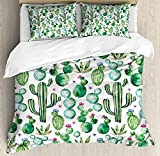 Twin Size Green 3 PCS Duvet Cover Set, Mexican Texas Cactus Plants Spikes Cartoon Like Artistic Print, Bedding Set Quilt Bedspread for Children/Teens/Adults/Kids, White Pale Pink and Lime Green