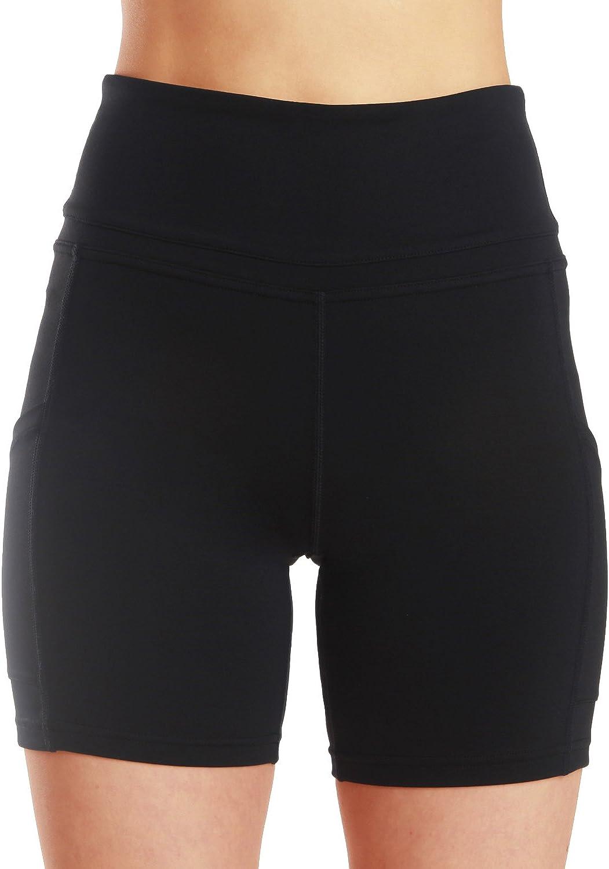 ChinFun Yoga Shorts for Women High Waist Tummy Control 4 Way Stretch Workout Running Shorts Side Pockets