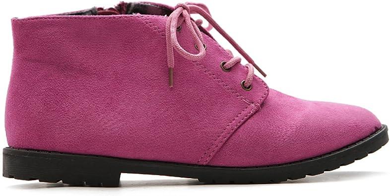 Ollio Women Classic Flat Shoe Lace Up Faux Suede Oxford