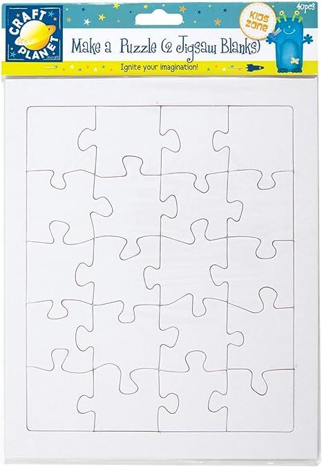 Craft Planet 40 piezas 2 en Blanco A4 Rompecabezas hacer un rompecabezas Blanco