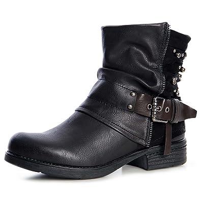 topschuhe24 1297 Damen Worker Boots derbe Plateau Stiefeletten, Farbe:Schwarz, Größe:36