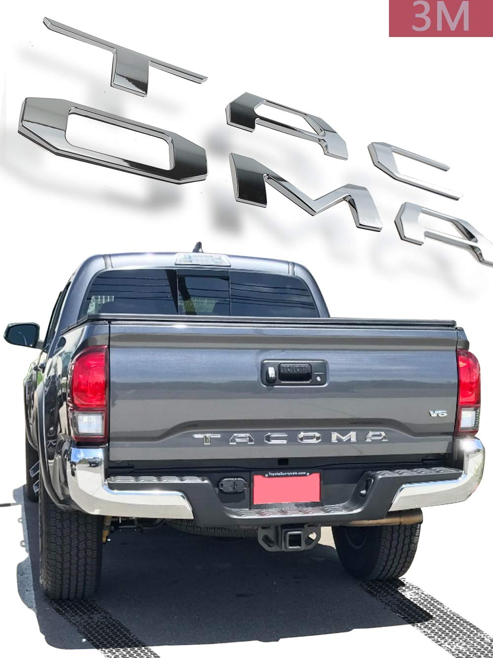 Auto Rover 3D Raised Tailgate Zinc Alloy Letters for Toyota Tacoma 2014-2019 Metal Inserts with 3M adhesive backing (Chrome)
