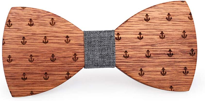Bow Tie Pre-Tied Brooch Pin Collar Anchor Carving Wood Bow Ties Handcrafted Gift for Mens Boys Tuxedo Wedding Party Geometry Sculpture Wooden Adjustable Classic Natural Walnut for Wedding Party