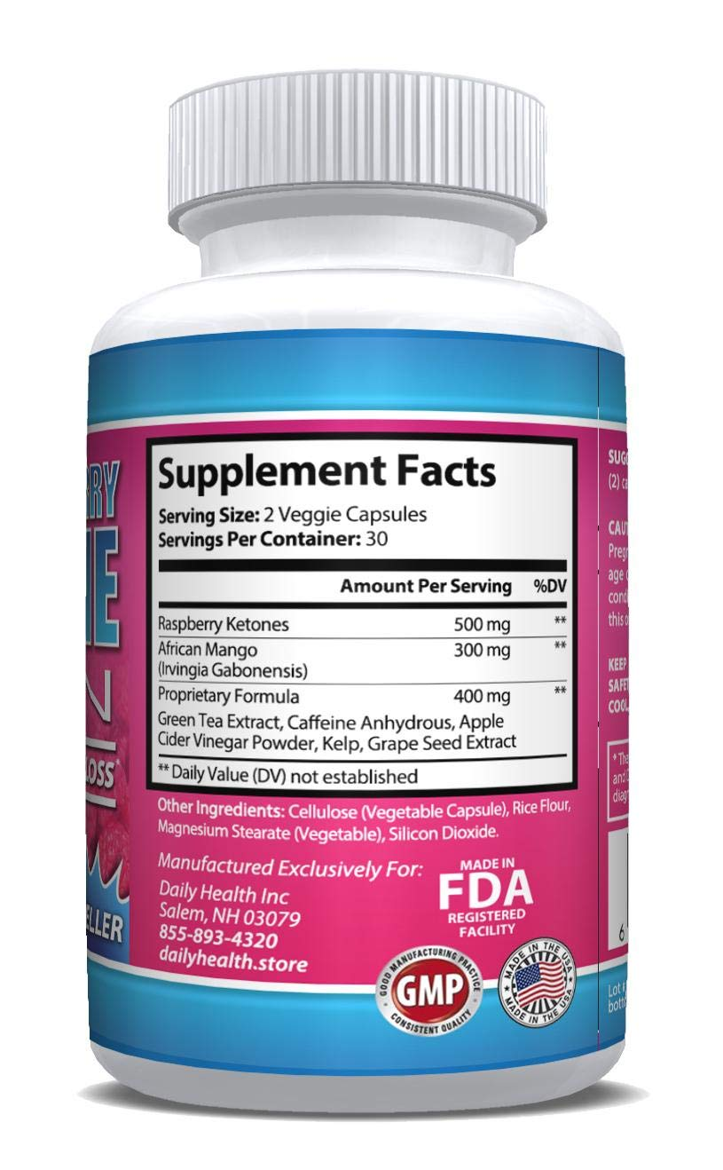 Raspberry Ketones Lean African Mango Blend 1200 mg per Serving 60 Capsules Weight Loss Diet Management Support Supplement (6) by Daily Health (Image #2)