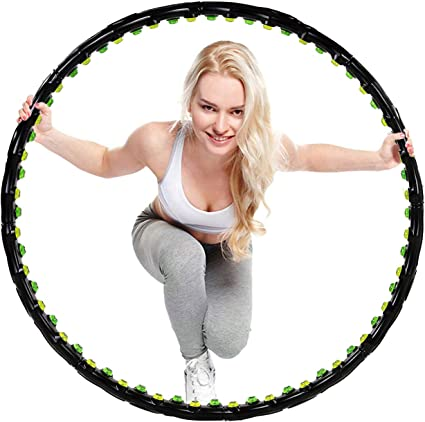 HULA HOOP Massage 6-teilig Faltbar mit Noppen  Fitness Gymnastik Bauchtrainer