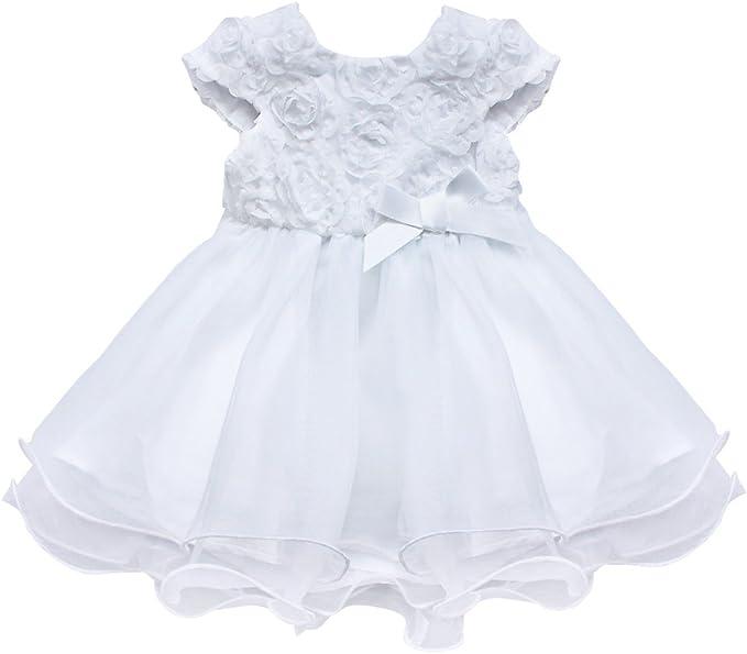 Iefiel Babykleid Weisses Baby Taufkleider Madchen Kleider Hochzeit Festlich Taufe Kleidung Neugeborenen Amazon De Bekleidung