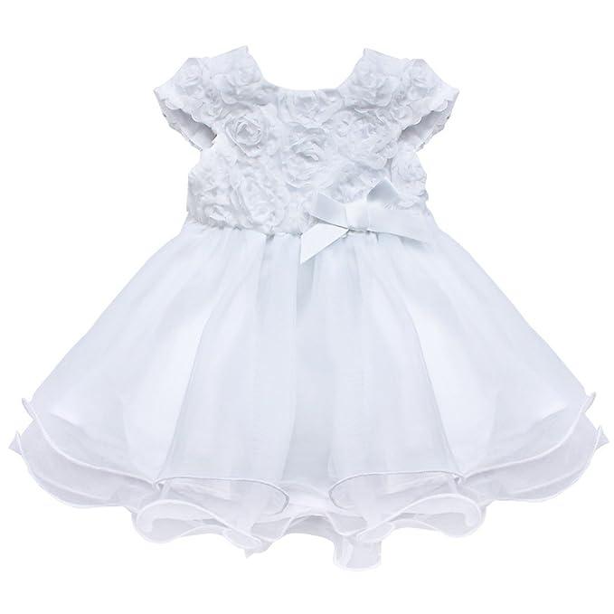 iEFiEL Babykleid weißes Baby Taufkleider Mädchen Kleider Hochzeit ...