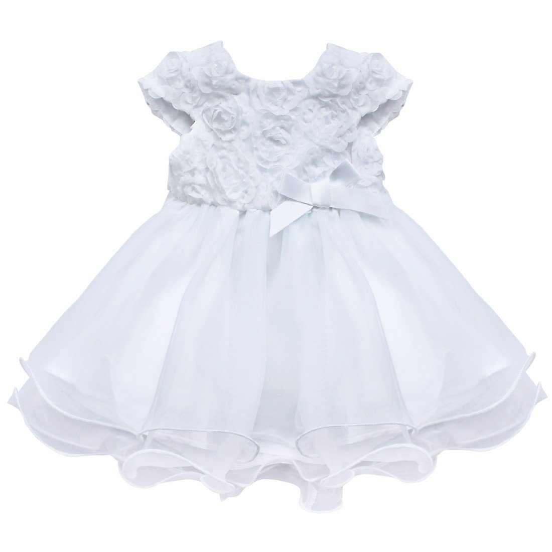 CHICTRY Baby Girls 3D Rose Flower Baptism Christening Party Princess Dress White 12-18 Months