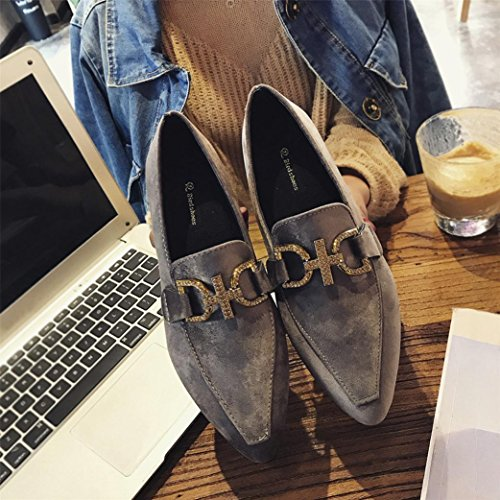 Fheaven Womens Casual Shoes Pointed Toe Dress Boat Shoes Flock Rhinestone Square Low Heel Ankle Shoes Gray MLKlWqrD