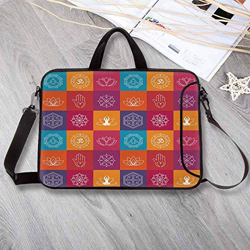 Yoga Custom Neoprene Laptop Bag,Colorful Collection of Yoga Icons and Relaxation Symbols Wellness Harmony Health Zen Laptop Bag for Men Women Students,12.6