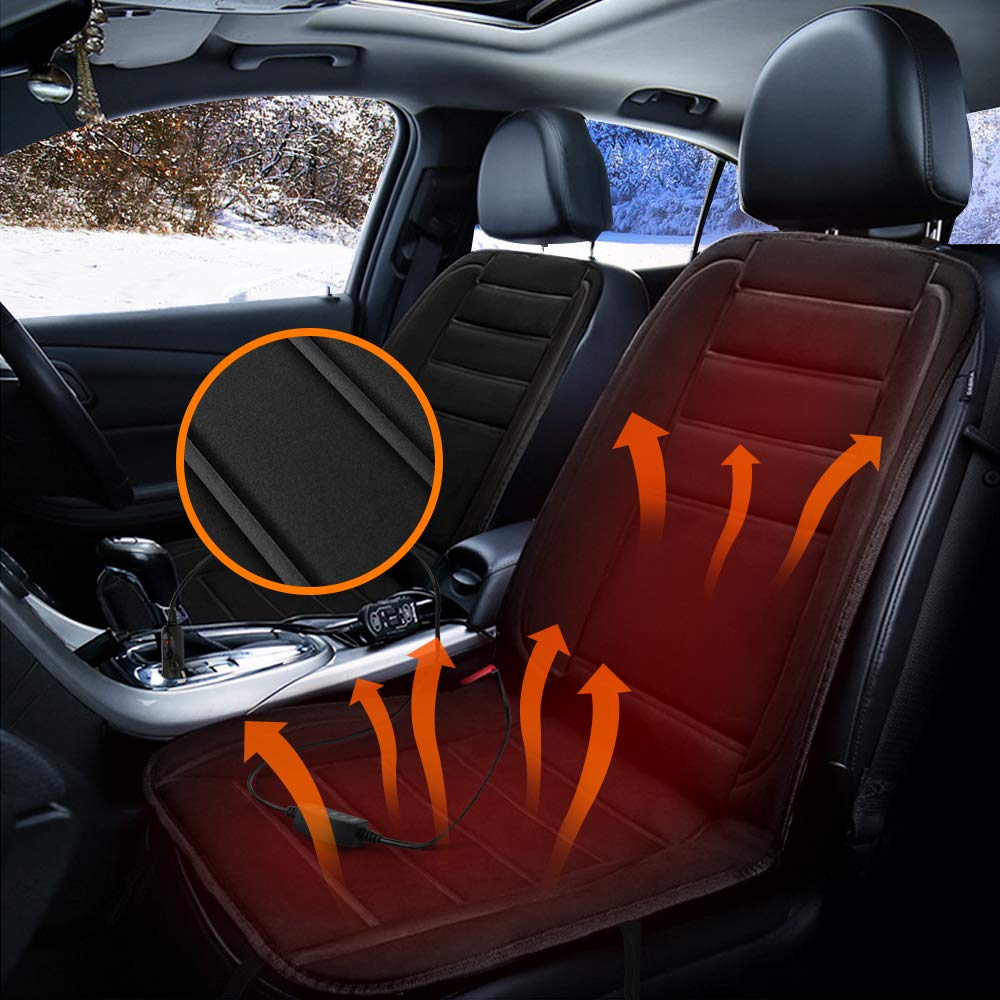 LASCOTON Car Seat Heater, Car Heated Seat Cover 12V Car Front Seat Hot Heating Pad Cushion, Constant Temperature Protection Function
