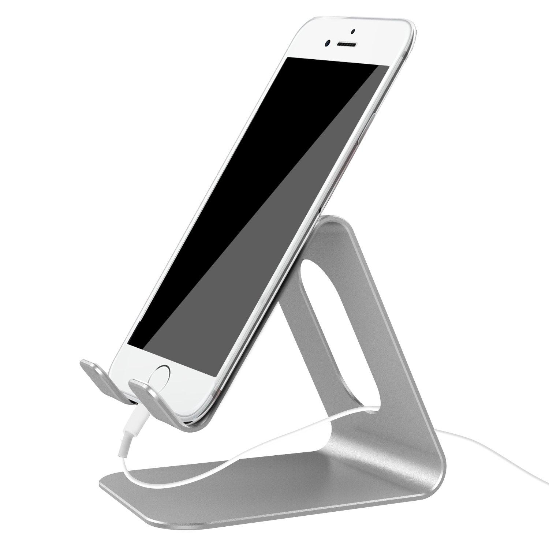 Ifecco Supporto Telefono, Dock Telefono : Universale Supporto Dock per Phone XS XS Max XR X 8 7 6 6S Plus 5 5S 4 4S, Huawei, Samsung S9 S8 S7 S6 S5 S4, Scrivania, Altri Smartphone - Argento