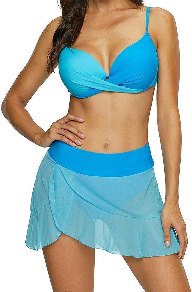Duevin Bikini con Falda Bordado de Malla Transparente para Mujer ...