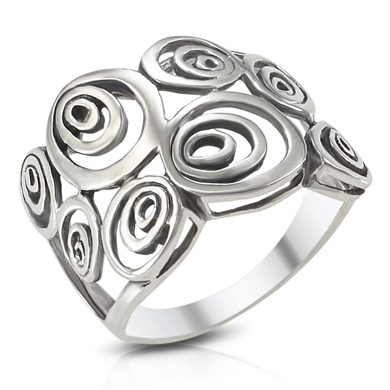Amazon MIMI Sterling Silver Wide Geometric Spiral Swirl Ring