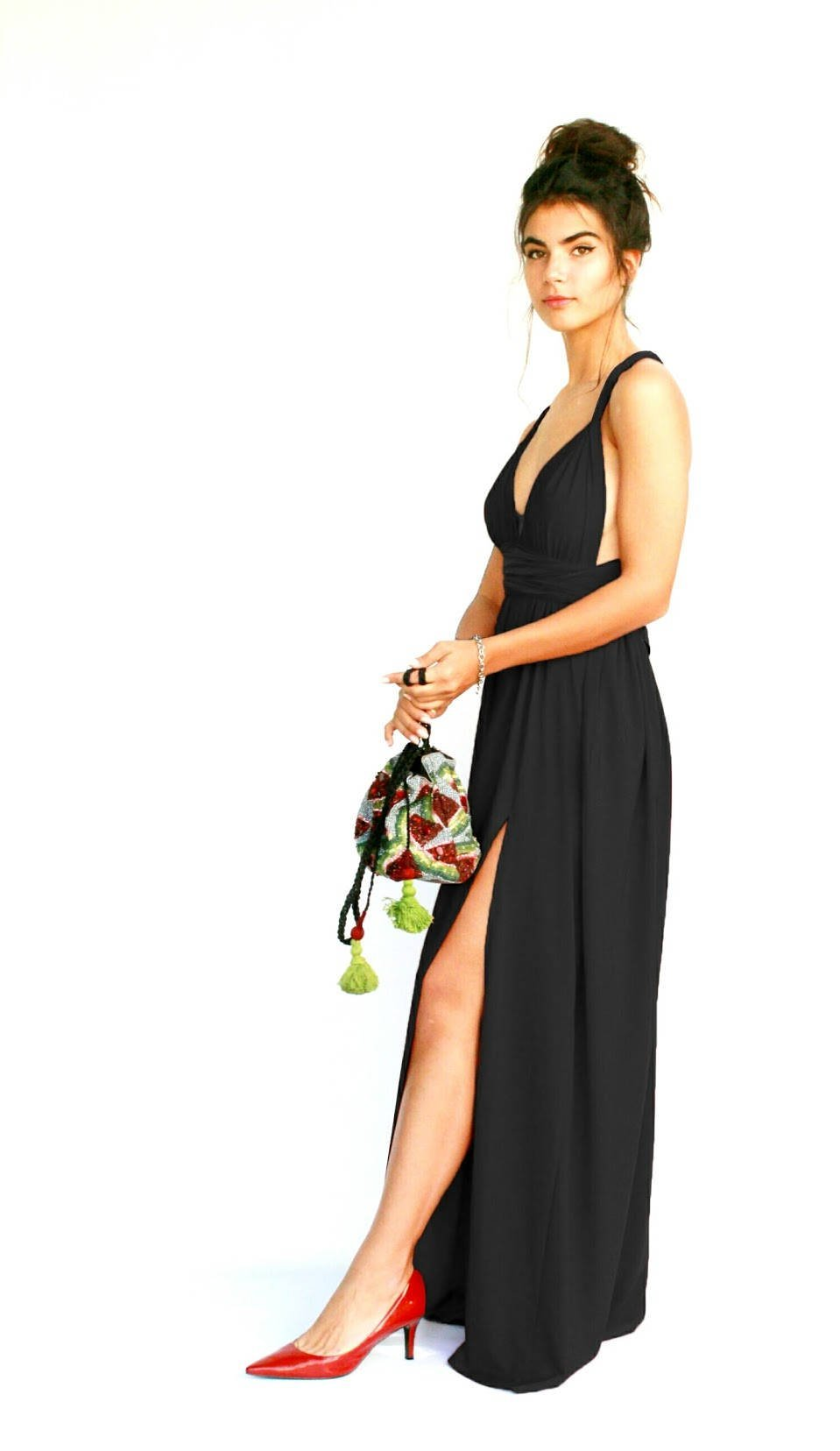 Women's Infinity Black Prom Dress, Bridesmaid Evening Dress, Maxi Long Dress for Wedding, Elegant Lycra Gown