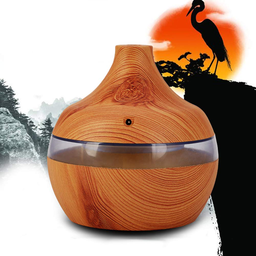 yanQxIzbiu Essential Oil Diffuser Wood Grain USB 300ml Humidifier Aroma Diffuser Mist Maker Colorful LED Light - Wood Grain for Bedroom Living Room Study Yoga Spa by yanQxIzbiu (Image #5)
