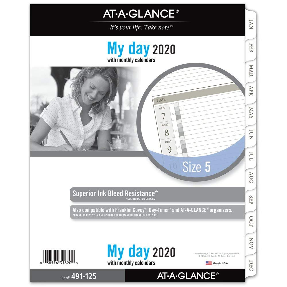AT-A-GLANCE 2020 Daily Planner Refill, Day Runner, 8-1/2'' x 11'', Folio Size 5, One Page Per Day, Loose Leaf (491-125) by AT-A-GLANCE