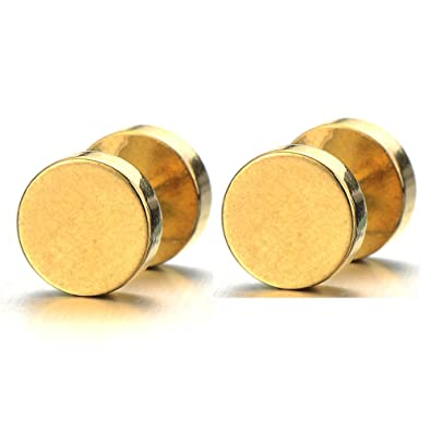3e7b6d5b6 Amazon.com: 2pcs 7mm Gold Screw Stud Earrings Men, Stainless Steel Cheater  Fake Ear Plugs Gauges Illusion Tunnel: Jewelry