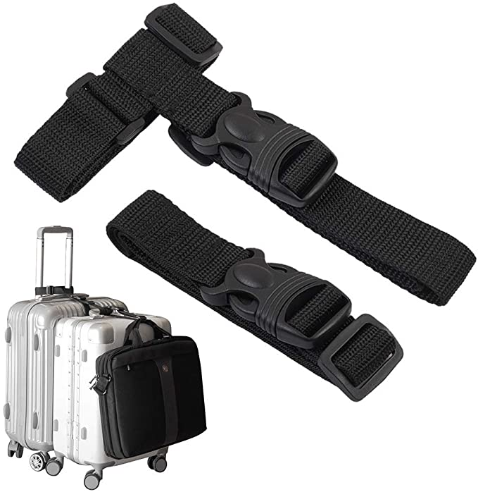 Blue Adjustable Luggage Strap Belts Travel Bag Accessories For 20-32 Suitcase With Address Tag HOLLY TRIP Pack of 2 Luggage Straps